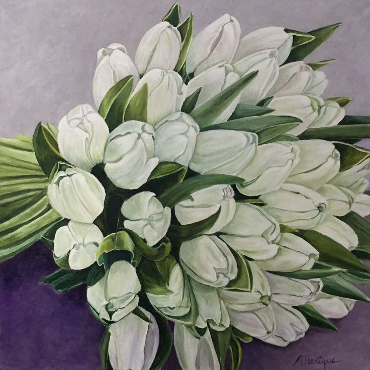 Bouquet of white  Tulips (60x60), acryl painting by Monique Heijnis