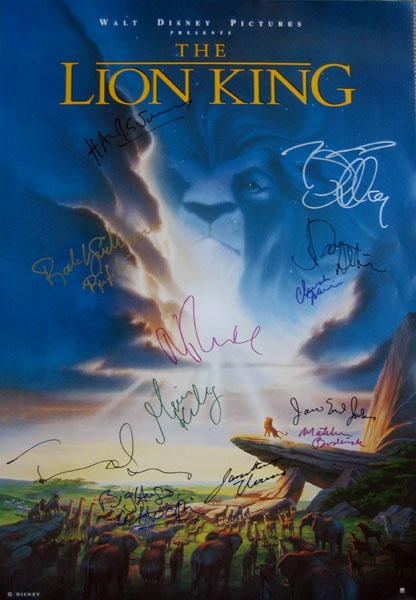 LION KING original movie poster signed by Jonathan Taylor ...