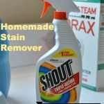 Print Homemade Stain Remover (Shout) Ingredients ⅔ cups Dawn Dishwashing Liquid ⅔ cups ammonia 6 Tblsp baking soda 2 cups warm water Instructions Mix everything together and pour into a spray bottle.