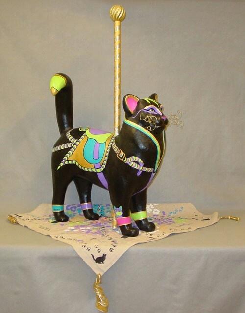 Carousel Cat www.catcaresociety.org/paintedcatsgallery2011.html: Carousel Cat www.catcaresociety.org/paintedcatsgallery2011.html