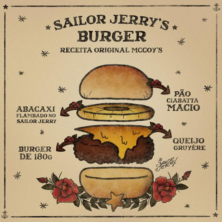 Sailor Jerry´s Burger, receita original @McCoysBurgerStand.