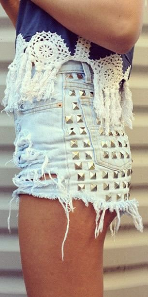 Studded shorts and dream catcher tank.