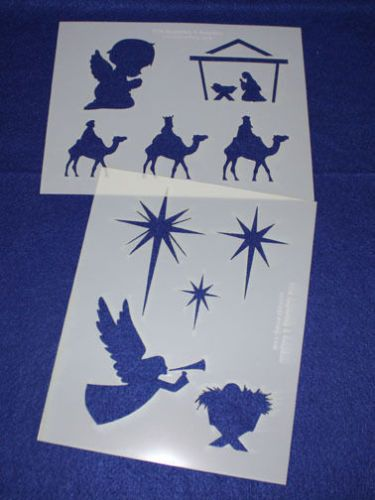 2 Mylar 14 Mil Christian Christmas Stencils Painting
