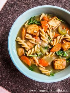 Tofu Vegetable Noodle Soup from @vanilla_cake #vegan #soup #recipe #glutenfree