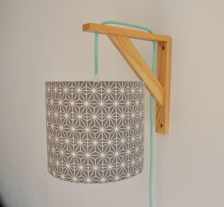Lampe équerre - applique murale - tissu saki gris - cable électrique vert menthe - design - lampe de chevet