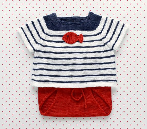 Knitted baby set. Sweater and diaper cover. Red, navy and white. Crochet fish. 100% cotton. READY to SHIP size newborn.