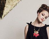 Anweisung Tiger Halskette - Korallen Federn - Gold-Anweisung Lion Halskette - Orange Fringe Halskette - Dreieck/Urlaub Goldkette