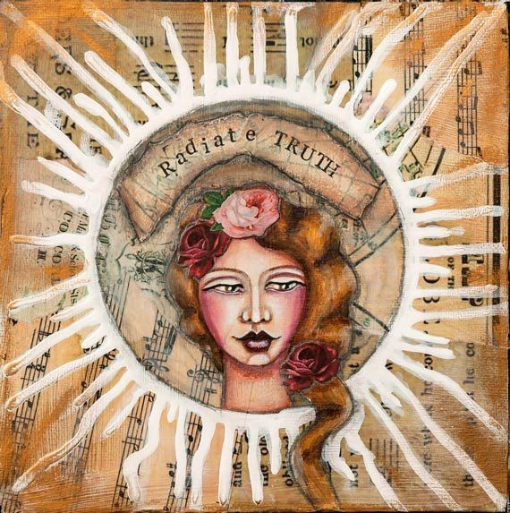 "Mixed media painting of women with inspiring words ""radiate truth"", unique inspirational wall art, art print Giclée 12"" x 12"" - 30 x 30 cm"