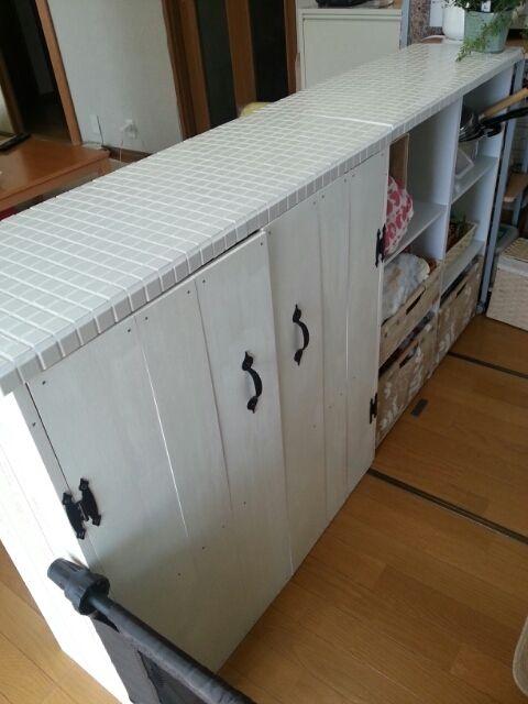 *完成* DIY タイル貼りキッチンカウンターをカラーボックスで作る②|*chocotea *