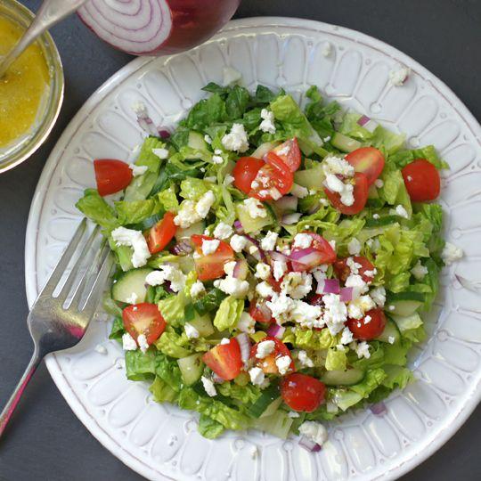 Classic Greek Salad Dressing -- made with garlic, djion mustard, oregano, raw apple cider vinegar, lemon juice, olive oil, salt and pepper.