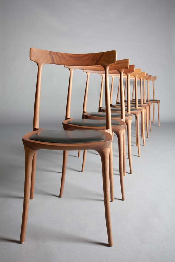 - A SET OF EIGHT WALNUT P.J.S DINING CHAIRS by Ceccotti,: