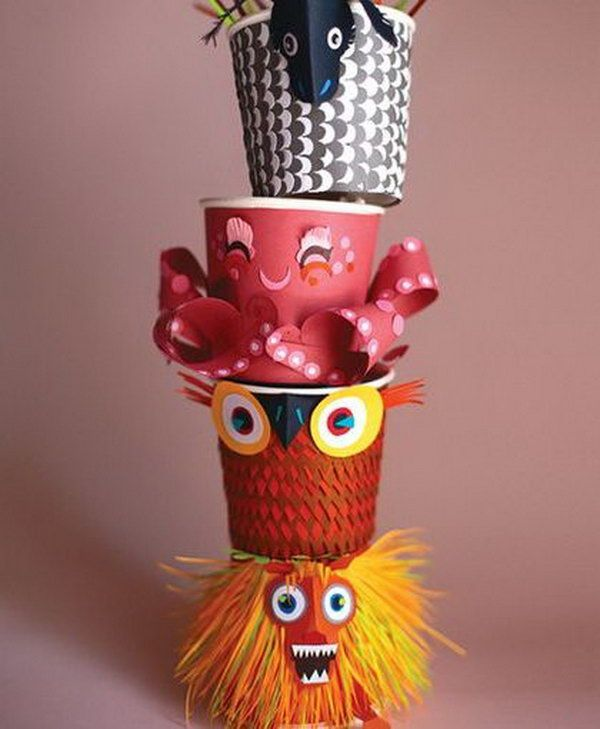 Paper Cup Totem Pole. A great idea for a collaborative project and a history lesson at the same time.
