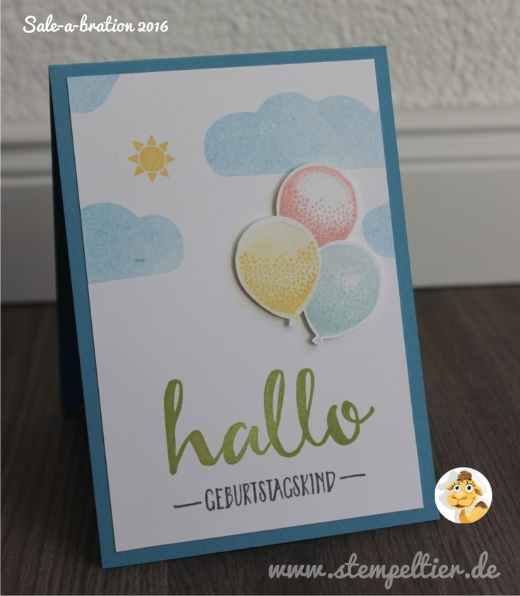 sale-a-bration stampin up stempeltier hello gratis geburtstag frühjahr Sommerkatalog 2016 luftballon partyballons Geburtstagskarte