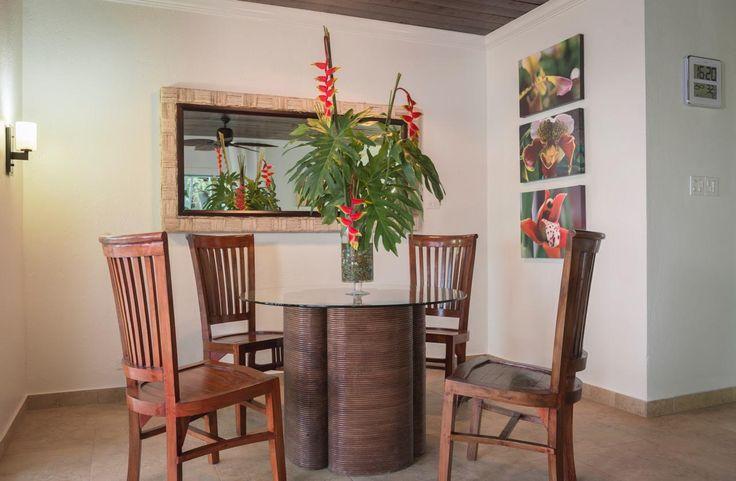 Dinner nook: new ceiling, artwork, lights & a fresh coat of paint! #saba #visitsaba #julianashotel #remodel #renovation #makeover #orchid #orchidcottage