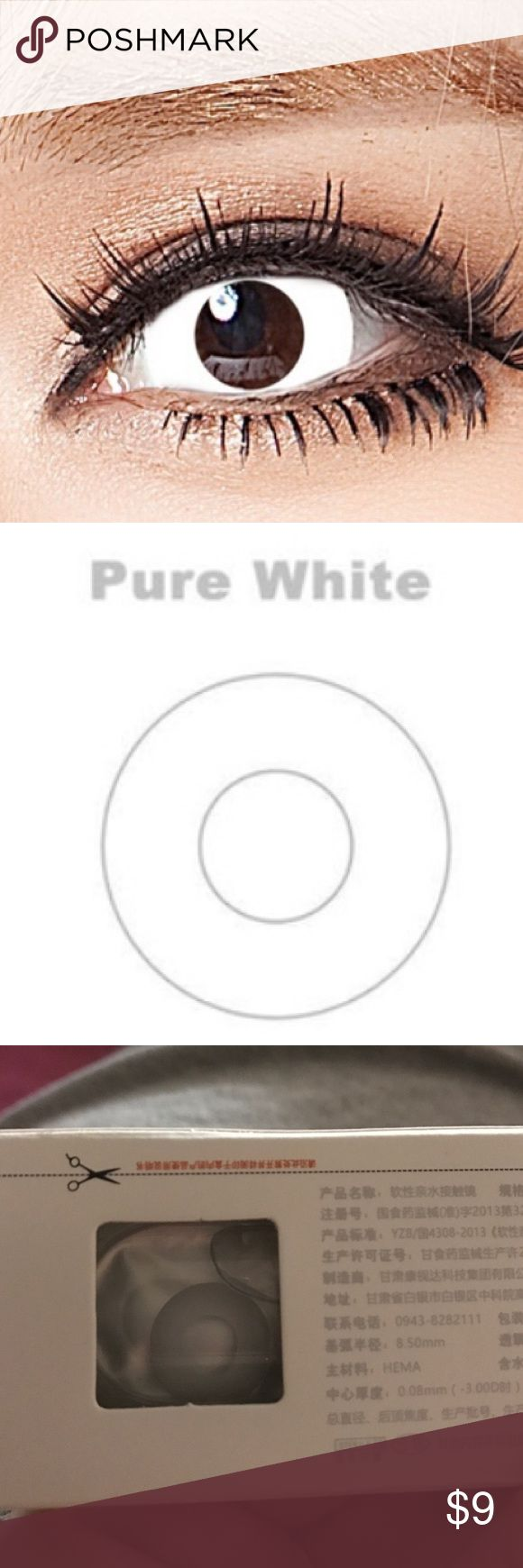 Pure White Contacts Beauty Blooming Soon Halloween contact lenses for cosplay  The Color White color / Red color/Black color Base curve:8.6mm Diameter:14.2mm Phemfilcon: 40% 1.All lenses was yearly use. 2.All lenses only for eye color , Without diopter  Package included: 1 pair contact lenses 1 piece contact lenses case Makeup