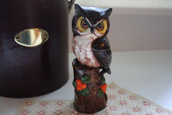 Vintage uil beeldje met jaren 1970 Owl standbeeld, keramische Owl beeldje, Woodland Owl, midden van de eeuw, vogel 1970