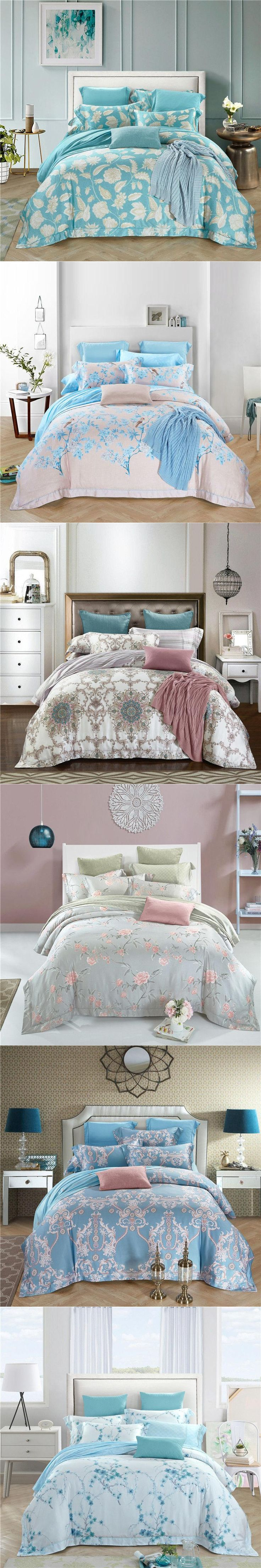 bedding set king size bedding set 60s double-sided tencel European court luxury bed linens plant duvet cover king size bed sheet