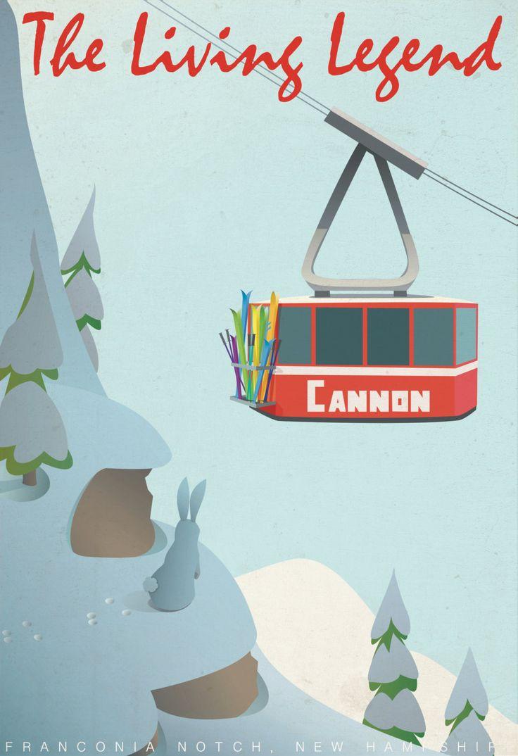 "... Ski Poster - Ski New Hampshire, Cannon Mountain, ""Vintage"" Style Print · TAHOE SKI Resorts ..."