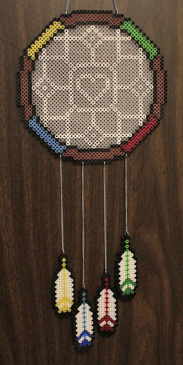 Perler and Artkal fuse bead dream catcher version two by PkmnMasterTash/pkmnmastertash-creations/Natasha Lazaravich