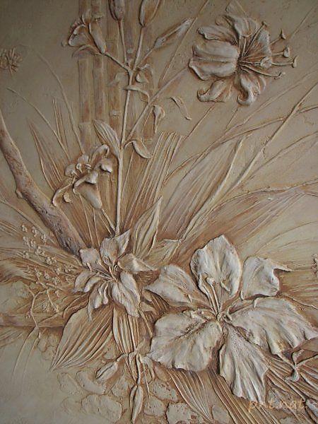 """Панно """"Икебана с лилиями"""" - Скульптура и лепка - Лепные панно и барельефы"""