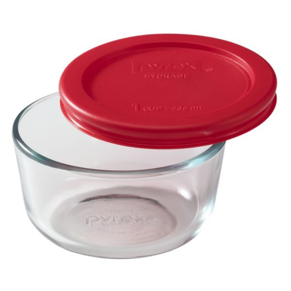 Pyrex Simply Store 1 Cup Round Storage Dish W Red Lid Glass Food Storage Containers Pyrex Glass Storage Glass Food Storage
