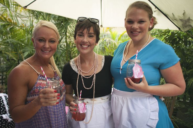 lovely ladies enjoying a beverage from our drinks station at Zoe's retro themed Kitchen Tea.