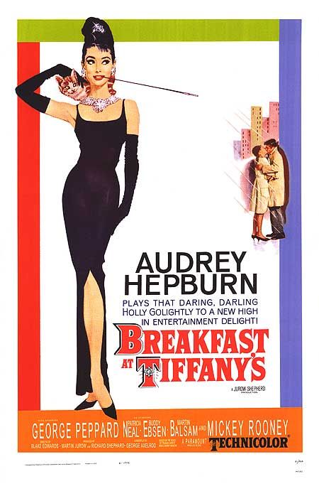 1961: Breakfast at Tiffany's  Every woman wanted to be her, and every man wanted to be with Audrey Hepburn. Everything about this is iconic: the long cigarette, the jewels, the cat and her long black dress.