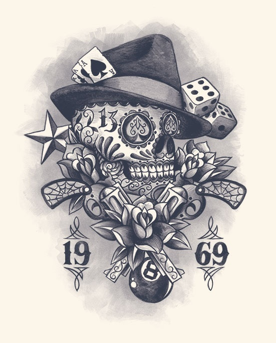 muerte skull gun vintage flower rose dice web 8 ball tattoo design