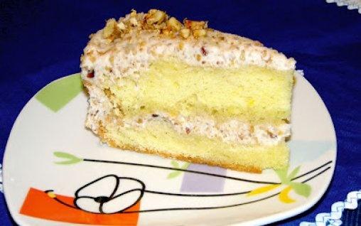 Retete Culinare - Tort cu smantana si nuci