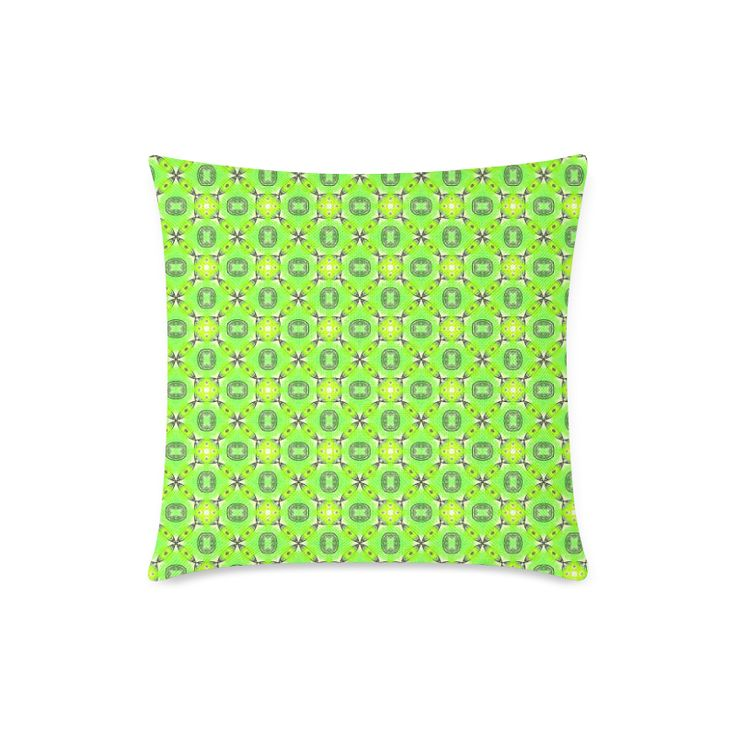 """Vibrant Abstract Tropical Lime Foliage Lattice New Linen Pillow Case Pillow Inner Included 18""""x18"""""""