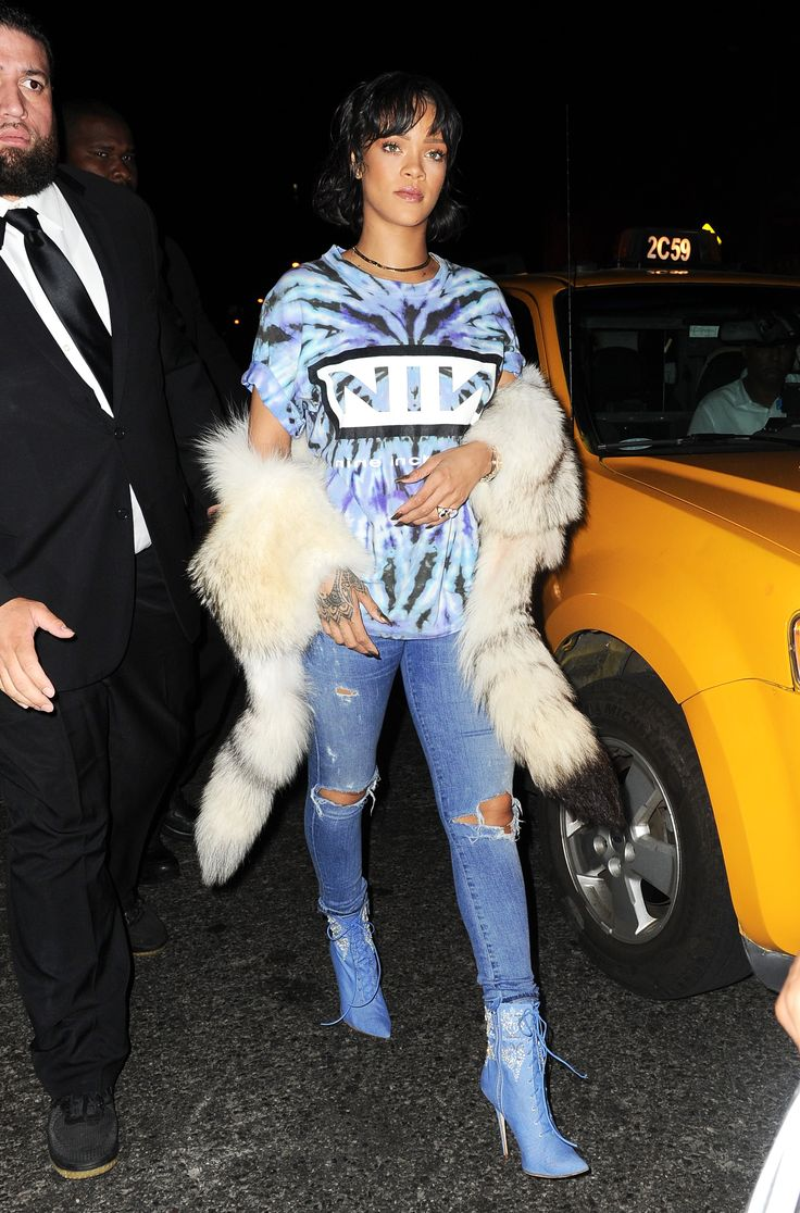 Rihanna - wearing boots from her recent collab with Manolo Blahnik