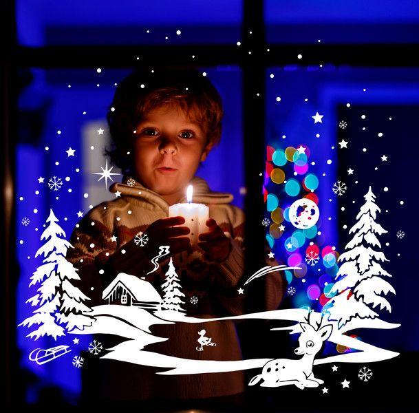 Fensterbild Winter Reh und Ente Schneeflocken 1700 von deinewandkunst auf DaWanda.com