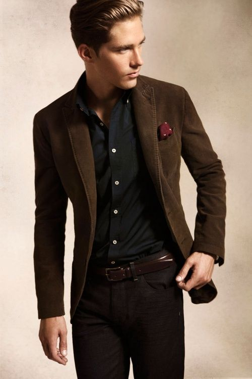 Shop this look for $192:  http://lookastic.com/men/looks/pocket-square-and-longsleeve-shirt-and-blazer-and-belt-and-chinos/720  — Burgundy Polka Dot Pocket Square  — Black Longsleeve Shirt  — Dark Brown Blazer  — Dark Brown Leather Belt  — Dark Brown Chinos