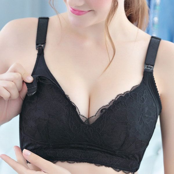 Sexy Lace-trim Front Open Busty Wireless Full Coverage Nursing Bras  maternity