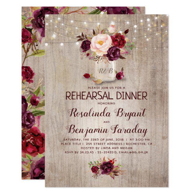 Burgundy Floral Mason Jar Rustic Rehearsal Dinner Invitation Zazzle Com Rustic Bridal Shower Invitations Wedding Invitations Rustic Bridal Shower Rustic