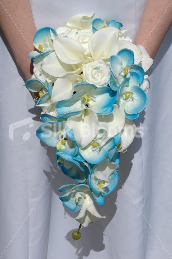 Silk Calla Lily Wedding Bouquet | Calla Lily Rose Cascading Bridal Bouquet Aqua Blue Orchid Ivory Calla ...