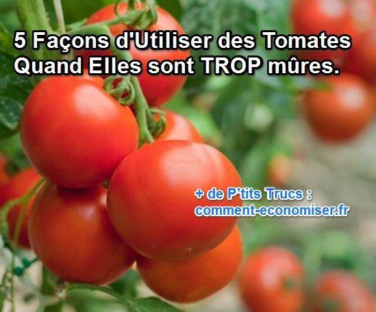Ne vous inquiétez pas ! Il y a plusieurs façons d'utiliser les tomates mûres du jardin.  Découvrez l'astuce ici : http://www.comment-economiser.fr/5-recettes-pour-cuisiner-les-tomates-trop-mures.html?utm_content=buffer39a97&utm_medium=social&utm_source=pinterest.com&utm_campaign=buffer