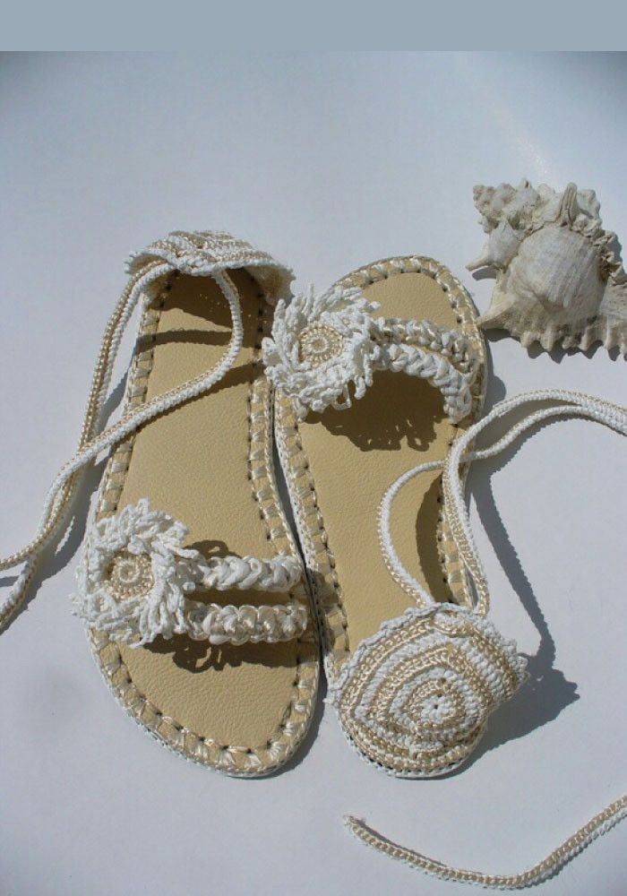 Strong Cream White Handmade Cotton Thread Flat Shoes
