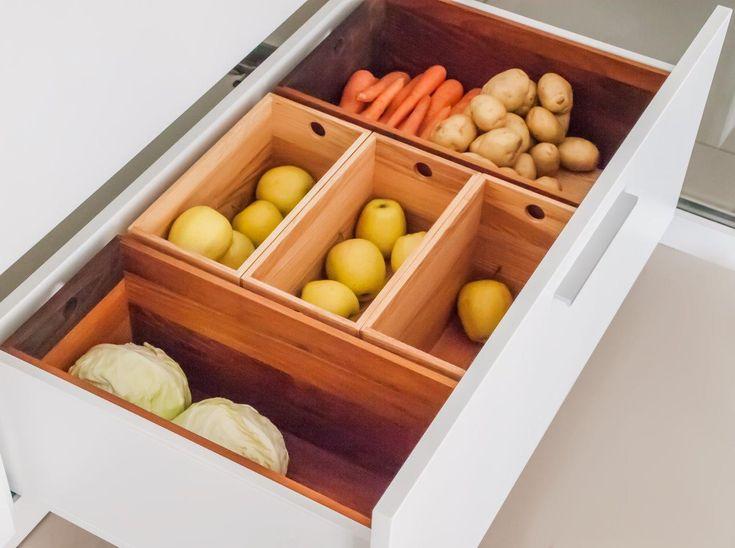 Хранение овощей на кухне. Коробочки для овощей и фруктов.  Cutlery Tray, Filling of drawers  http://ergobox.com.ua/