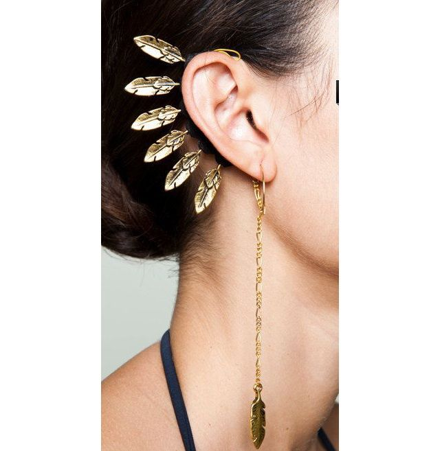 Gold Feathered Earrings |  The 19 Most Beautiful Piercings You've Ever Seen