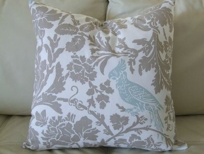 Beautiful Floral with Birds, Taupe, White and Robins Egg blue