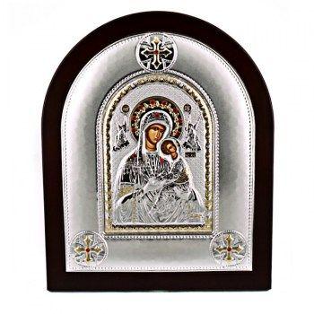 Εικόνες : Ασημένια Εικόνα με την Παναγία με Επίχρυσες Λεπτομέρειες σε Καφέ Ξύλο MA/E2115AX