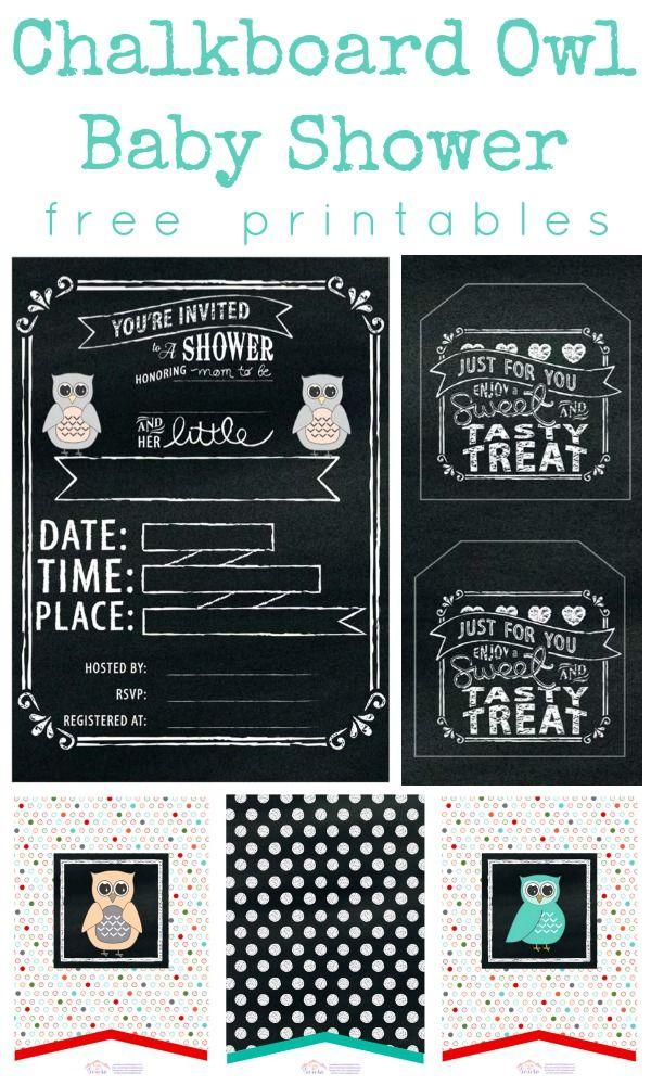 free printable funny0th birthday invitations%0A Chalkboard Owl Baby Shower    FREE Printable Set