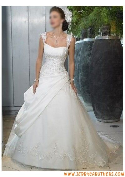 bescheiden prinses satijn en organza applique trouwjurk met riemen