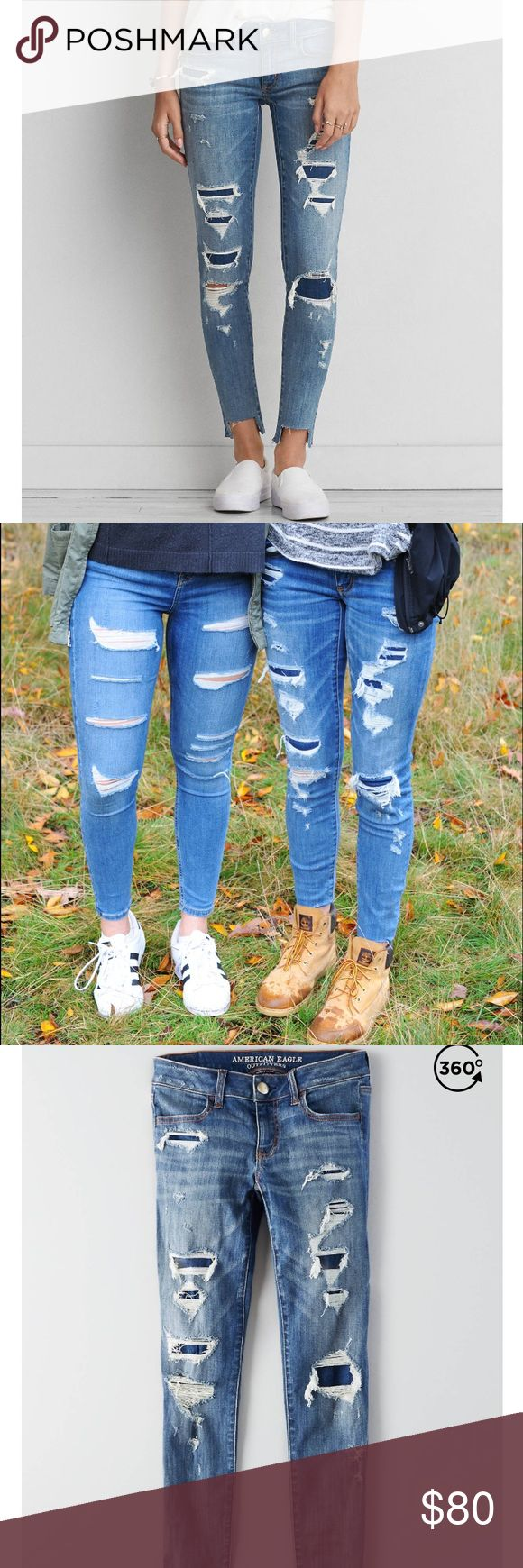 American Eagle Ripped Jeans Ripped denim blue jeans with patches and fray. Washed out. Easily paired with Timberlands or cute sneakers. American Eagle Outfitters Pants Skinny