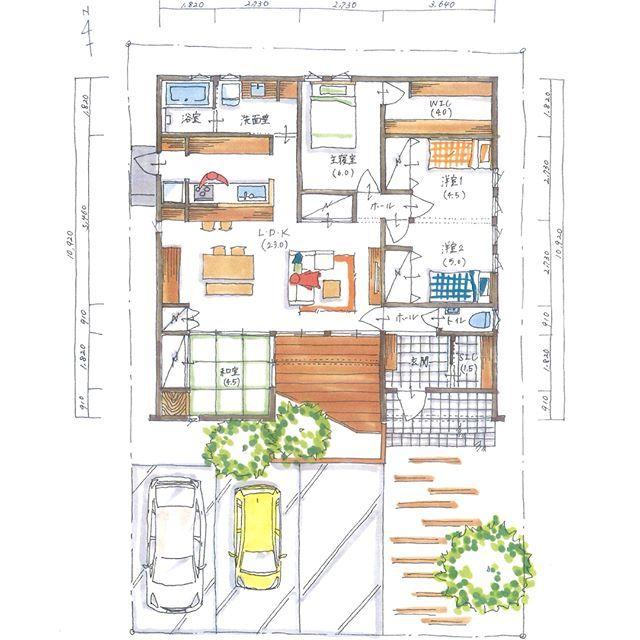 ボツプラン164 子供部屋ドアや主寝室のwicのドアは変更必要やけど 部屋や窓の配置はいい感じやと思います こんな感じもありですよね Collabohouse コラボハウス 間取り 間取り図 設計図 設計士 設計士とつくる家 住宅 住宅設計 自由 間取り 主