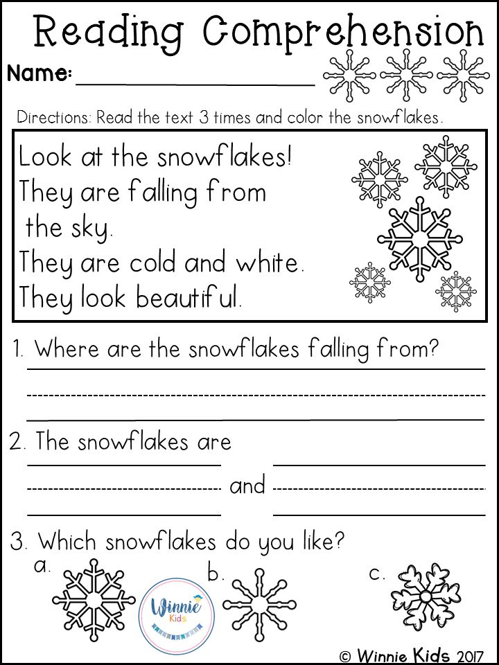 Kindergarten Reading Comprehension Passages Winter
