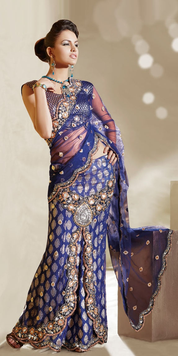 Blue shade lehenga saree