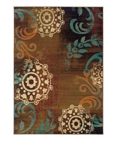Gorgeous rug for the living room! Brown & Teal Elliot Rug by Oriental Weavers on #zulily today!