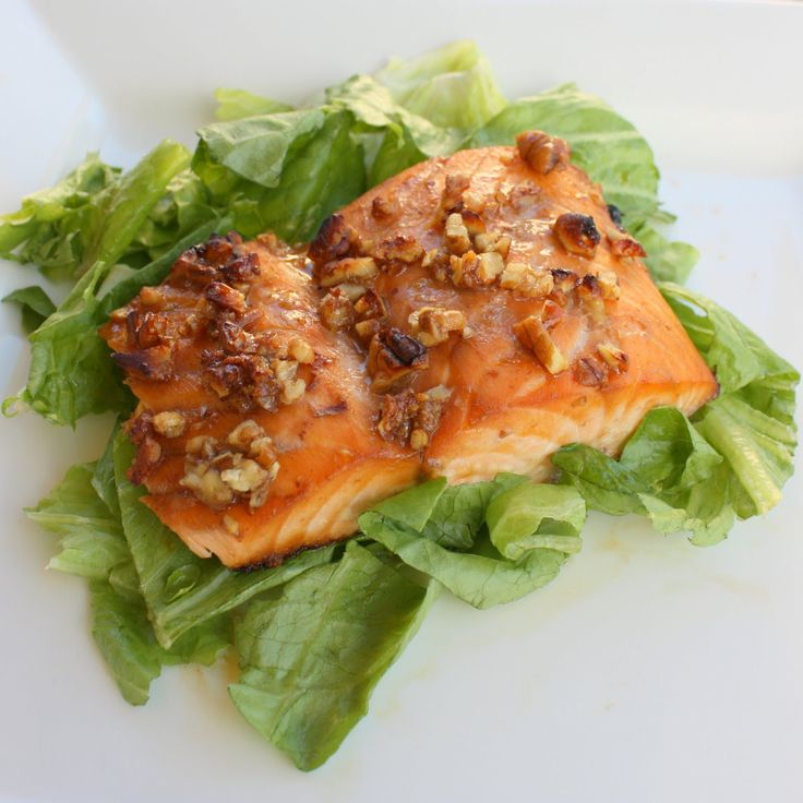 Honey and Pecan-Glazed Salmon  This is so easy and so good. We eat this salmon at least once every two weeks. Don't let the fact that this is a Weight Watchers recipe fool you, it's delish. Even my family, who aren't big fish eaters, love this meal.